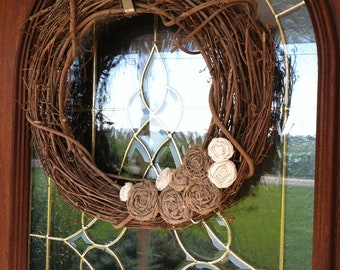 Burlap and Twill Wreath, Removable Attachment in mixed textures.