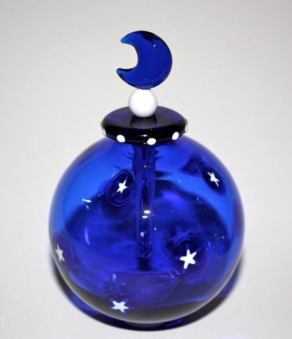 Handblown Glass Cobalt Blue Round Perfume Bottle With White