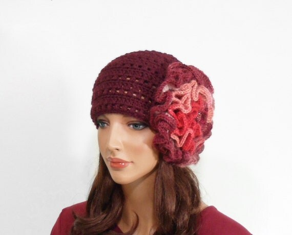 Crochet Hat with Big Flower - Burgundy Red