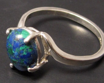 Solomon's Stone Ring  - Swept Band Style Size 7 - Stone from Ancient Fort Masada  - Lapis Malachite Turquoise in One Stone