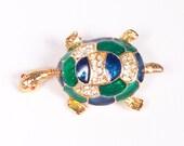 Vintage Rhinestone Turtle Brooch Enamel Pin Blue Green Fashion Costume Jewelry Gold Tone