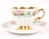 RESERVED for Chanin Sue Vintage Rosina Teacup and Saucer England Fine Bone China Pink Roses Gold