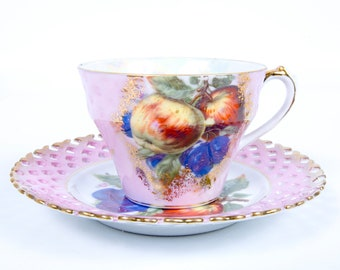 Vintage Royal Halsey Lipper and Mann Teacup Saucer Iridescent Reticulated Design Fruit Motif Made in Japan
