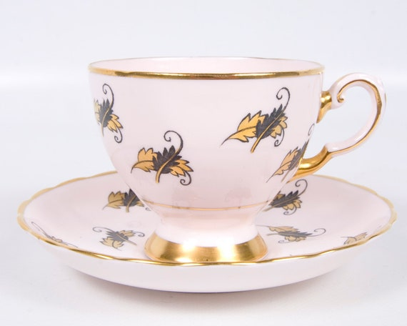 Vintage Pink Chintz Teacup Tuscan Tea Cup Saucer Gold Leaf Footed Chintz SimplyTClub England Fine Bone China