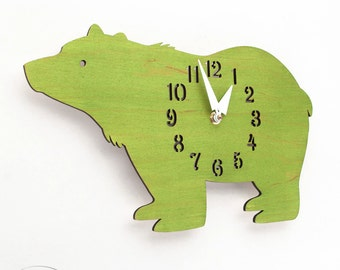 "The ""Big Bear in Lime Green"" Kid's wall mounted clock from LeLuni"