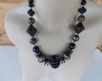 Chunky Black Beaded Necklace