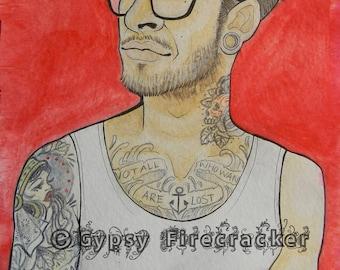 Print of Tattooed Fellow