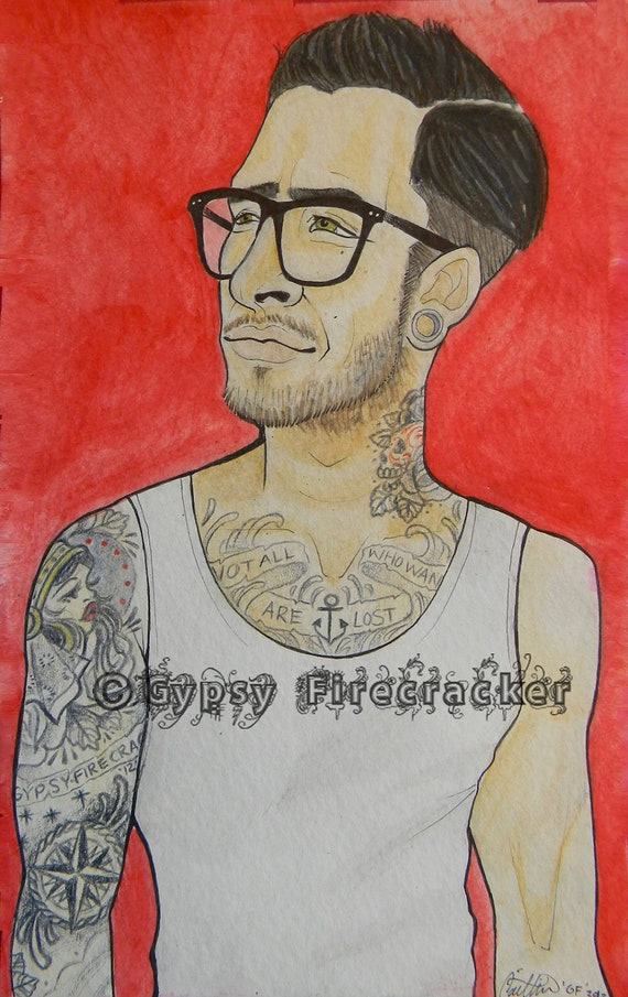 Print of tattooed fellow by gypsyfirecracker on etsy for Bradenton tattoo shops
