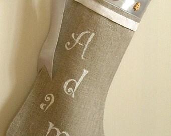 Christmas Stocking Personalized linen Burlap Christmas stocking Holidays decoration