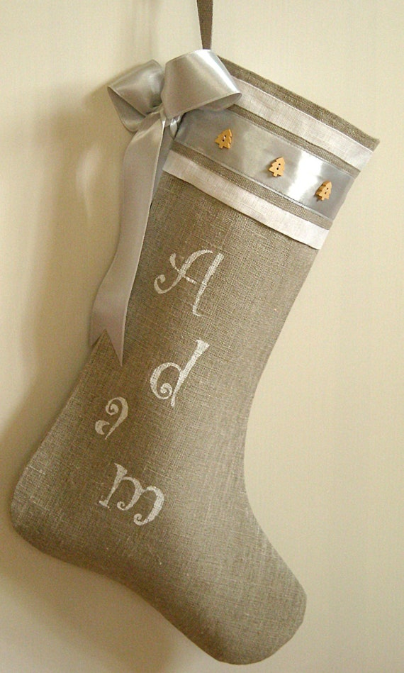 Shabby chic Stocking Personalized linen Burlap Christmas stocking Holidays decoration