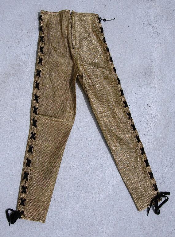 Vintage women Gaultier 1980s legging Gold lurex pair of pants  size 40
