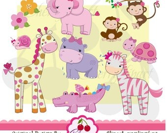 Pretty Pink Girly Jungle Animals Digital Clipart Set for -Personal and Commercial Use-paper crafts,card making,scrapbooking,web design