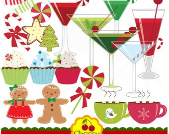 Christmas Sweet Treats and Holiday Drinks digital clipart set-Personal and Commercial Use-paper crafts,card making,scrapbooking,web design