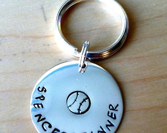 Personalized, Hand Stamped Sterling Silver Key Ring