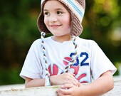 Boys Crochet Earflap Striped Hat - Brown Taupe Ecru Light Blue - Fall Winter Hat