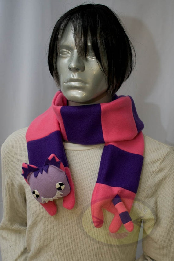 Cheshire Cat Scarf, Cute Animal, fleece, long, warm, Handmade