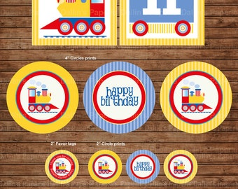 Choo Choo Train Birthday Party DIY Printable Party pack - match with Thomas and friends - yellow and blue