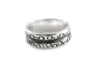 Mans Ring Circle Stamped Pattern, Recycled Sterling Ring - Wide Ring - Inspired by Octopus Tentacles, Jewelry For Men, For Him