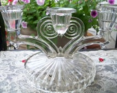 Depression Glass Jeanette Cosmos Triple Candle Holder