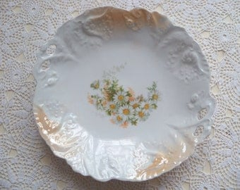Antique German Bowl Embossing Daisies Germany Shallow Serving Dish