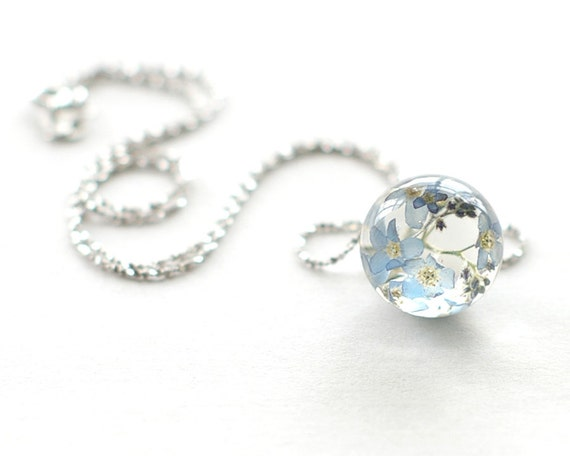 Forget-me-not Flowers Unique Necklace - blue Resin ball 925 Sterling silver chain - Myosotis sylvatica