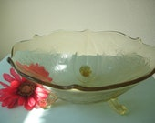 Three footed Yellow Depression Glass Amber Bowl Vintage Madrid Pattern