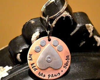 My Kid Has Paws Handstamped Personalized Keychain