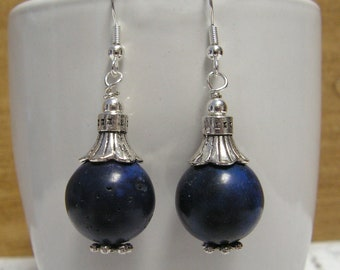 Magnesite Earrings Navy Blue - Blue Earrings, Gemstone Earrings, Dangle Earrings, Beaded Earrings