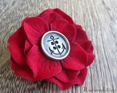 Anchors Away Turquoise & Red Flower Brooch / Hair Clip (bh008)
