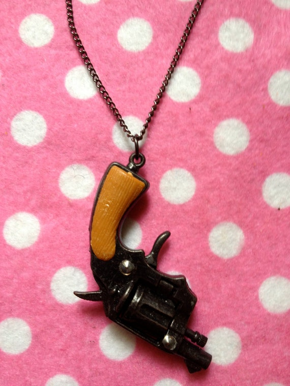 Mini Toy Model Gun Revolver Necklace With Moving Parts