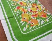 Vintage Rectangle Floral Tablecloth and Napkins / Green White Yellow Fallani and Cohn