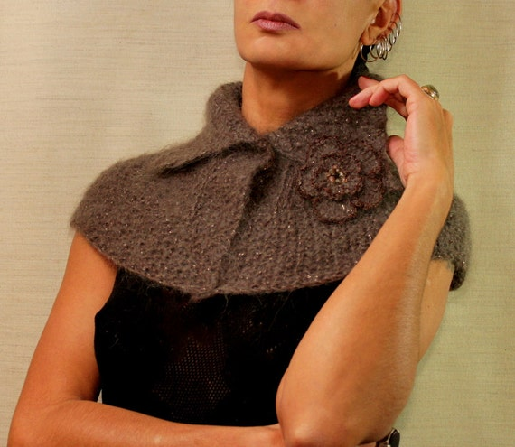 Knitting Pattern Cowl Shrug : Knit Cape Cloak, Cowl Collar Shrug, Cape Shrug, Shoulder Shawl Wrap, Cowl Nec...