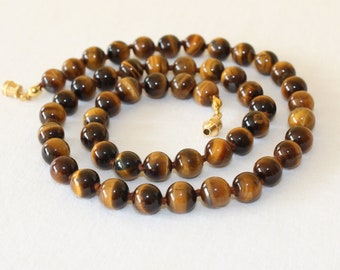 """Tiger Eye Necklace. 8mm 20"""" Hand Knotted. Brown Tiger Eye / Tiger's Eye Stone. Therapeutic. MapenziGems"""
