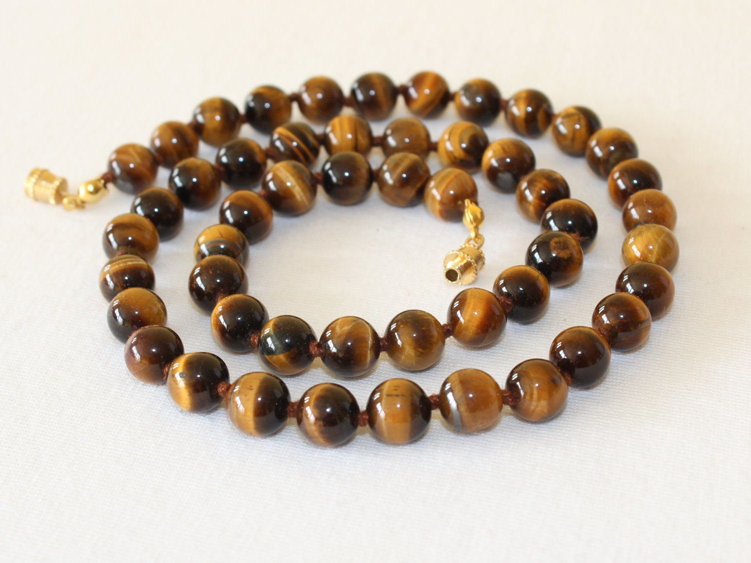 Tiger Eye Necklace 8mm 20 Hand Knotted Brown Tiger Eye