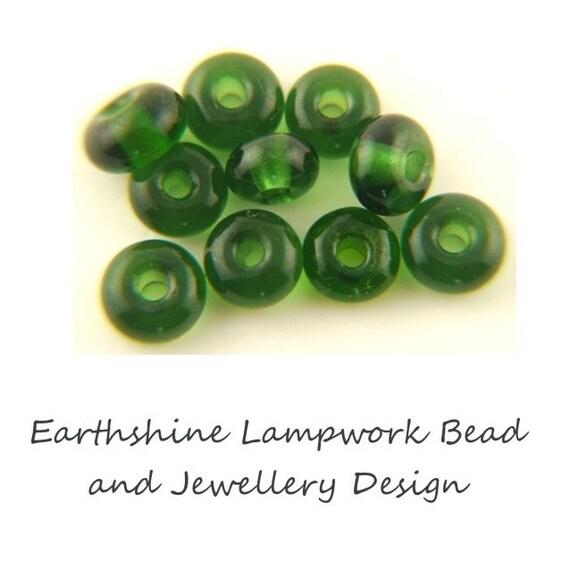 10 Handmade glass lampwork spacer beads: Effetre/Moretti Trans Sage Green 551211