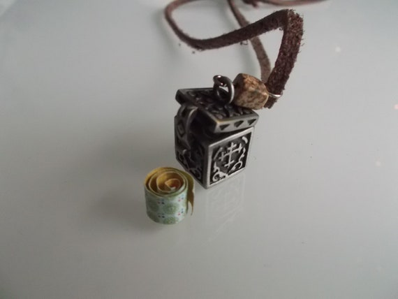 Brown leather necklace with gemstone, prayer box & personal note. Pagan hippie locket gothic cross male templar crusader lucky herb charm 4