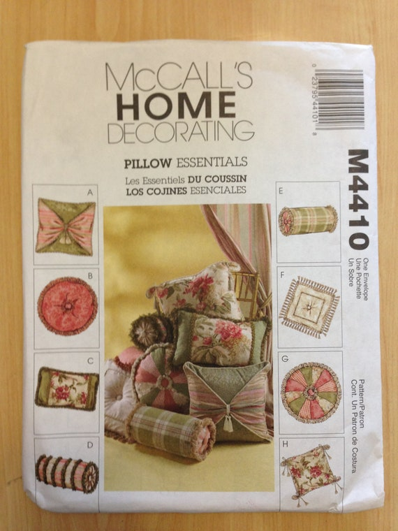 McCalls Sewing Pattern Home Decorating 4410 Uncut Pillow Essentials Sale
