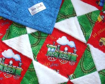Baby Boy Trains Quilt Blanket