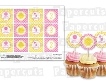 Printable DIY Yellow and Pink Lemonade Theme Personalized Happy Birthday Cupcake Toppers
