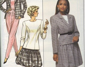 Butterick 80s Sewing Pattern Bubble Skirt Blazer Jacket Tapered Leg Pants Long Sleeve Blouse New Wave Fashion Uncut FF Bust 38 Plus Size