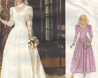 Retro 80s Wedding Gown Bride Bridesmaid Dress Vogue Sewing Pattern Floor Length Train Long Sleeves Standing Collar Shaped Bodice Bust 34