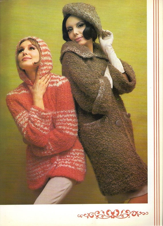 1960s Knitting Crochetting Pattern Book Retro Fashion Knit Crochet Instructions Coats Sweaters Skirts Men Women Pullover Hoodie