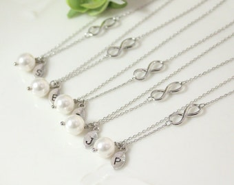 Bridesmaid gifts - Set of 3, 4, 5, 6 -Leaf initial, white pearl necklace,Infinity charm, Personalized necklace, Swarovski Pearl