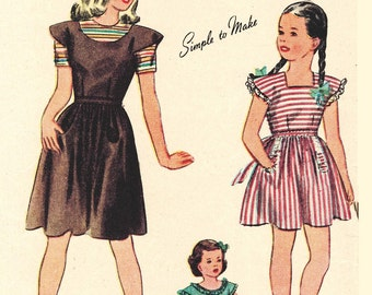 Simplicity 1211 Vintage 40s Girl's PINAFORE & BLOUSE - Mother Daughter Sewing Pattern Size 10 Bust 28