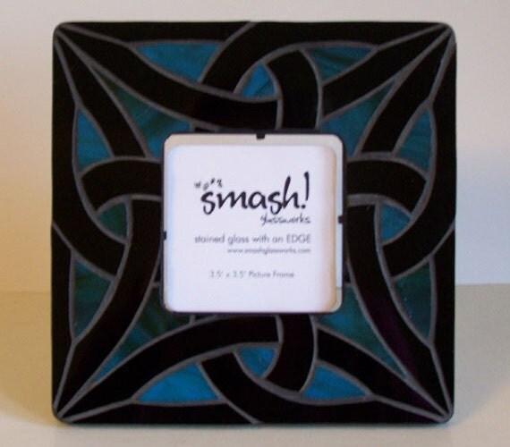"Mosaic Picture Frame - ""Celtic Knot Blue"""