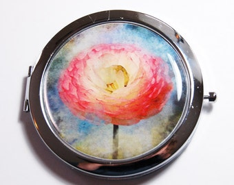 Floral compact mirror, compact mirror, Flower, mirror, gift for her, mirror for purse, flower compact mirror, floral, red, blue (2706)