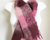 Beautiful Bright Pink 1950s Mohair Scarf - Made in Scotland