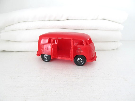 Vintage Red Plastic VW Ambulance Toy Car