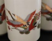 Vintage Japanese Tea Cup Set of Four - White with Red, Green, Gold Cranes