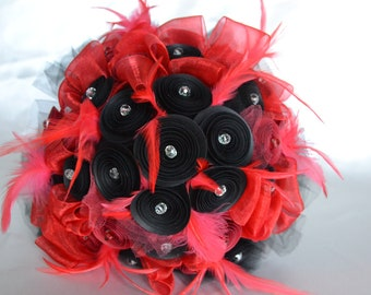 Wedding Bouquet Paper Black and Red with Feathers